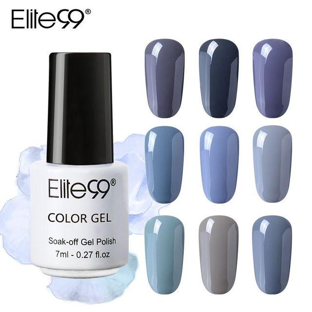 Elite99 12 stücke 7 ml Grau Farbe Serie UV Gel Nagellack Lange Anhaltende Led Nagel Gel Emaille Tränken Weg pailletten UV Nagellack Gel