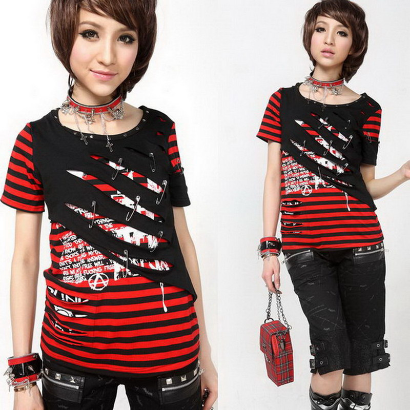 glp punk girl short sleeve stripe t shirt 71208 in t shirts from