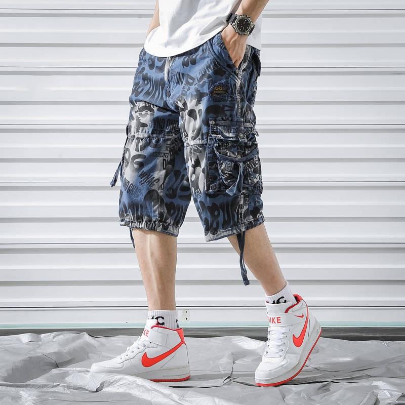 Men Punk Rock Hip Hop Shorts Ribbons Hip Hop Cargo Shorts Mens Black Casual Street Wear Elastic Short Pants With Many Pockets