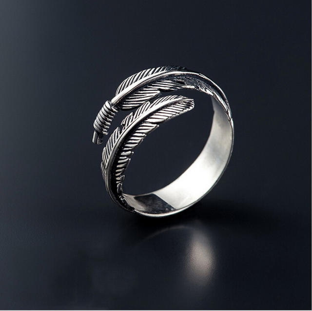Free Shipping Vintage open adjustable Feather Arrow Opening Rings for Women Thai Silver plated Jewelry