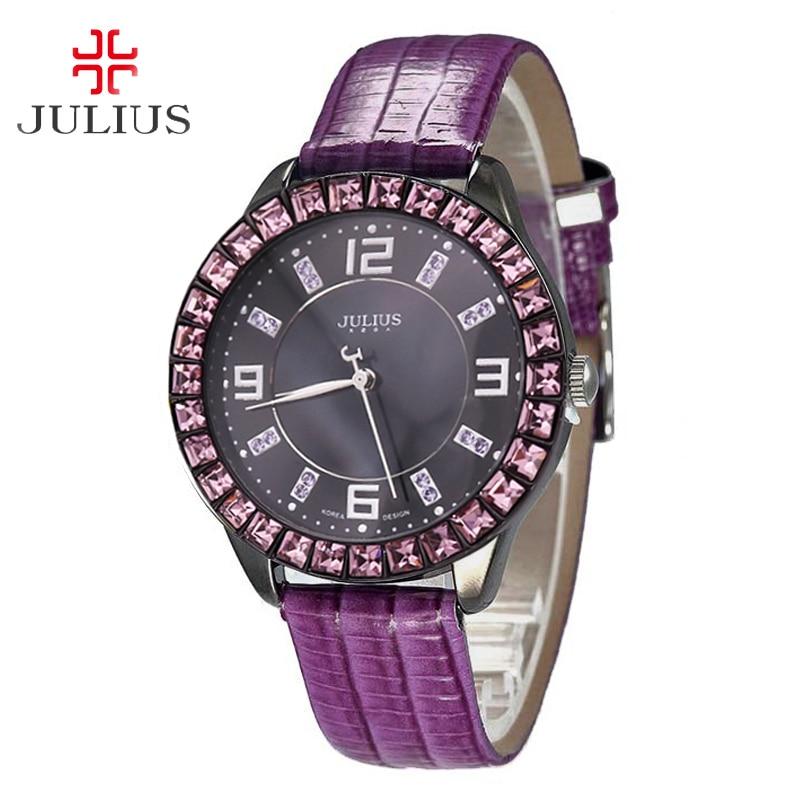 cc6fd7f4b69 Strass para Mulheres Relógio de Quartzo Madre-p Érola Assistir Japão Horas  de Relógio Moda Fina Pulseira Couro Julius Presente Aniversário da Menina  ...