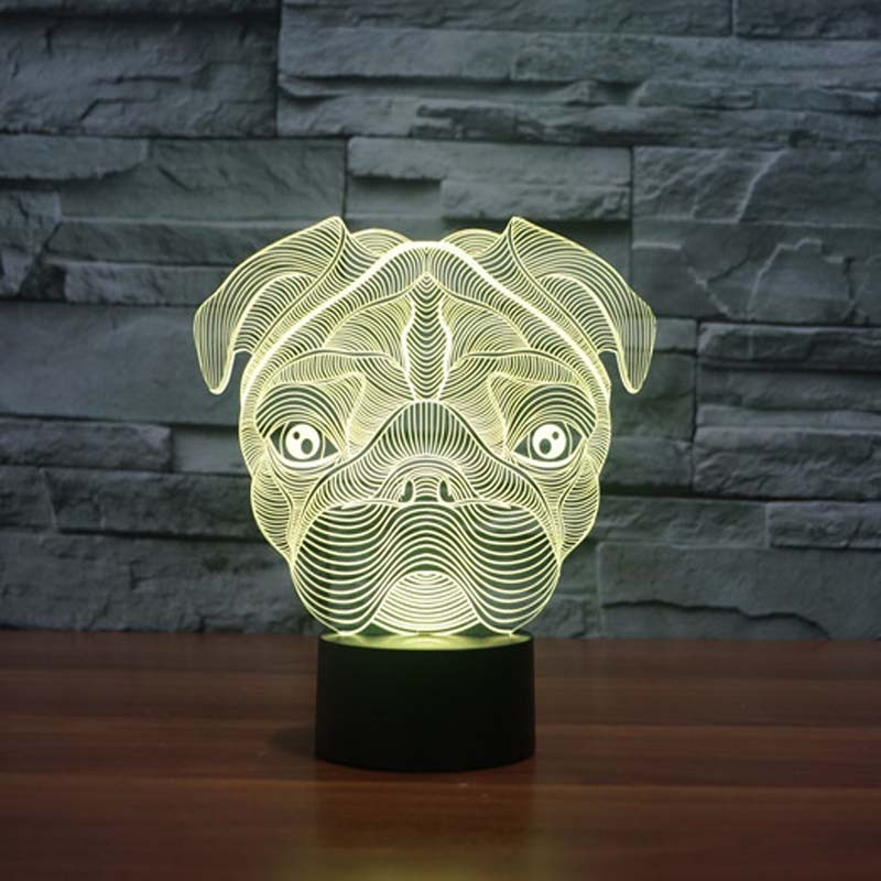 Cartoon Cute Pug Dog 3D LED Night Light 7Color Changing French bulldog SharPei Dog Table Lamp Baby Night Light Gift Home Decor 3d tiger shape led color changing decorative night light