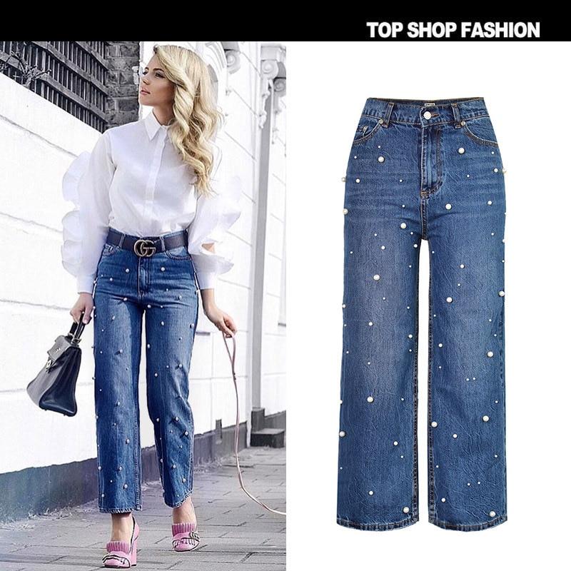 Vaqueros pantalones Anchos de Mujer 2017 Cotton Mezclilla de Casual Femme Alta de Moda Cintura Jean Pierna La Perlas Loose Pantalones Otoño Pantalones de YCxxqwPR