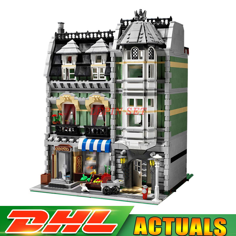 2018 New DHL Lepin 15008 2462Pcs City Street Green Grocer Model Building Kits Blocks Bricks Compatible Educational toys 10185 lepin 15008 new city street green grocer model building blocks bricks toy for child boy gift compatitive funny kit 10185 2462pcs