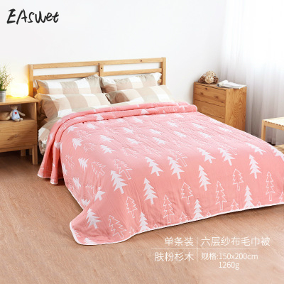leaf six layers muslin blanket summer quilt double king size blanket 100 cotton blanket - King Size Blanket