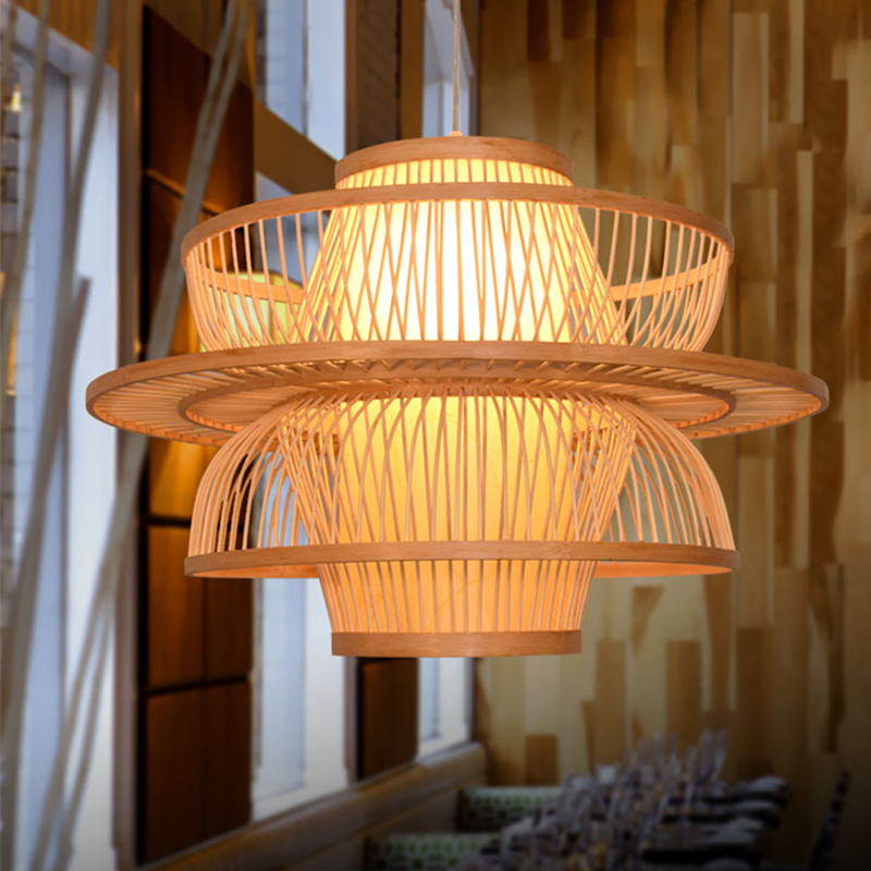 Chinese style rustic lantern bamboo rattan knitted classical LED pendant light bedroom e26 e27 7w bulb