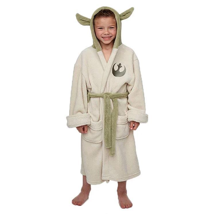 Star Wars Jedi Master Yoda Cosplay Costume Coral fleece Pajamas adults  bathrobe robe for children clothing-in Men s Costumes from Novelty    Special Use on ... 7dcd08b69