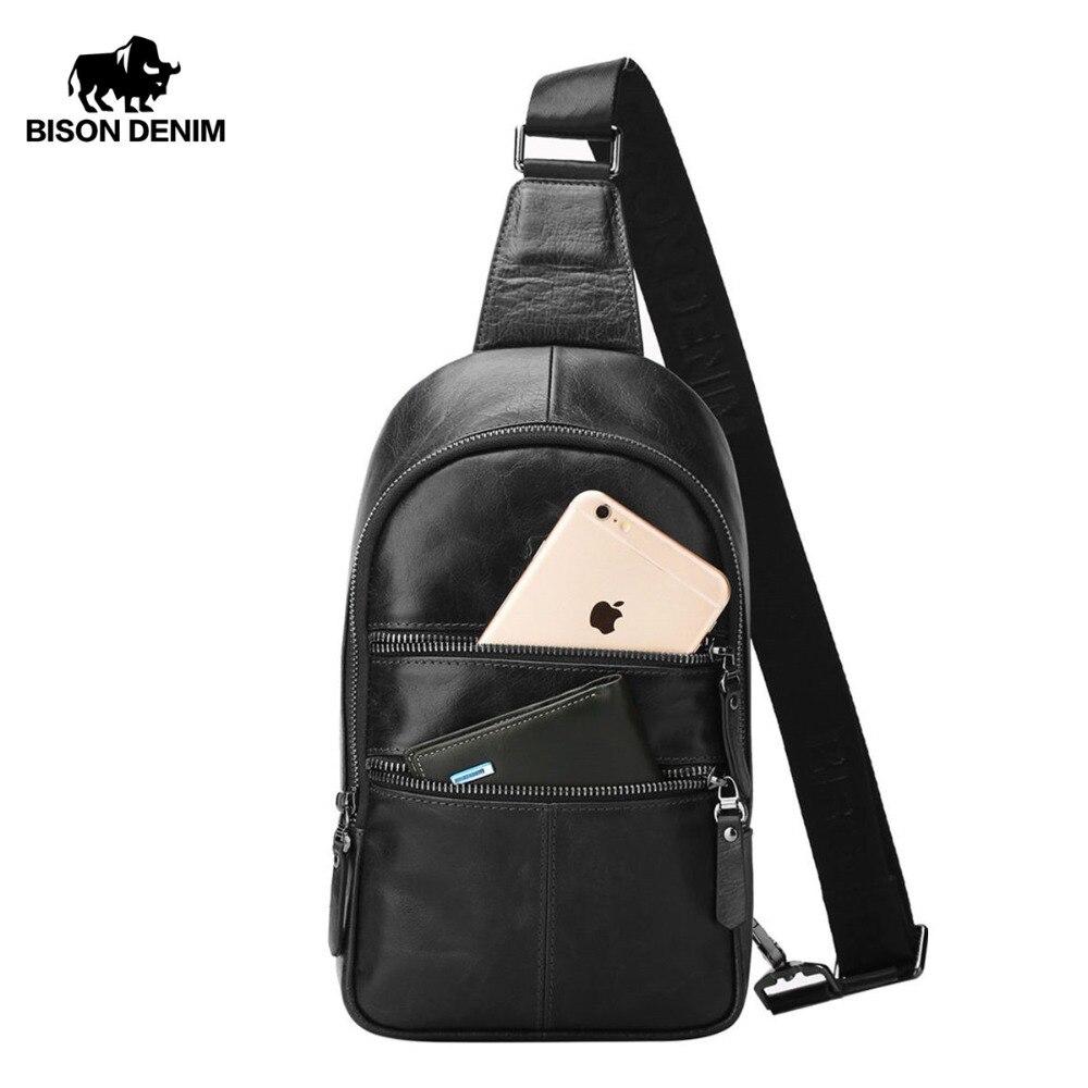 BISON DENIM sac à bandoulière pour hommes sacs à poitrine en cuir véritable sacs à bandoulière pour hommes sac à bandoulière décontracté sac pour hommes W2445
