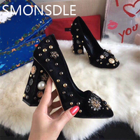 2018 Spring Summer Retro Velvet Women Pumps Round Toe Pearl Crystal Metal Decoration Women Shoes Thick High Heels Shoes Woman