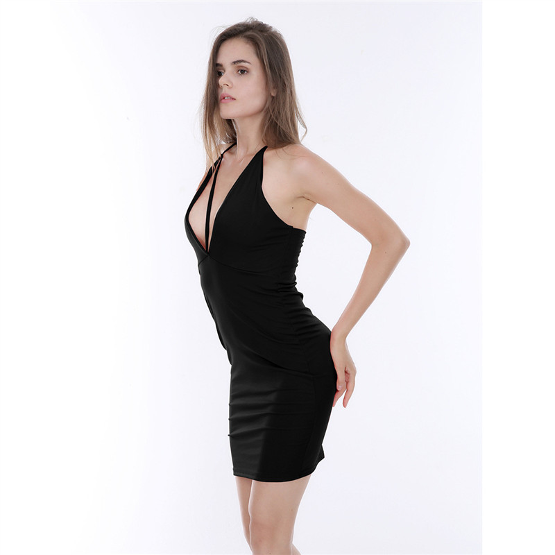European and American Hot Sale Sexy Women Dresses Black Red Deep V Halter  Tight Dress Party Nightclub Lace up Halter Mini Dress-in Dresses from  Women s ... 4ea8c7186bd5