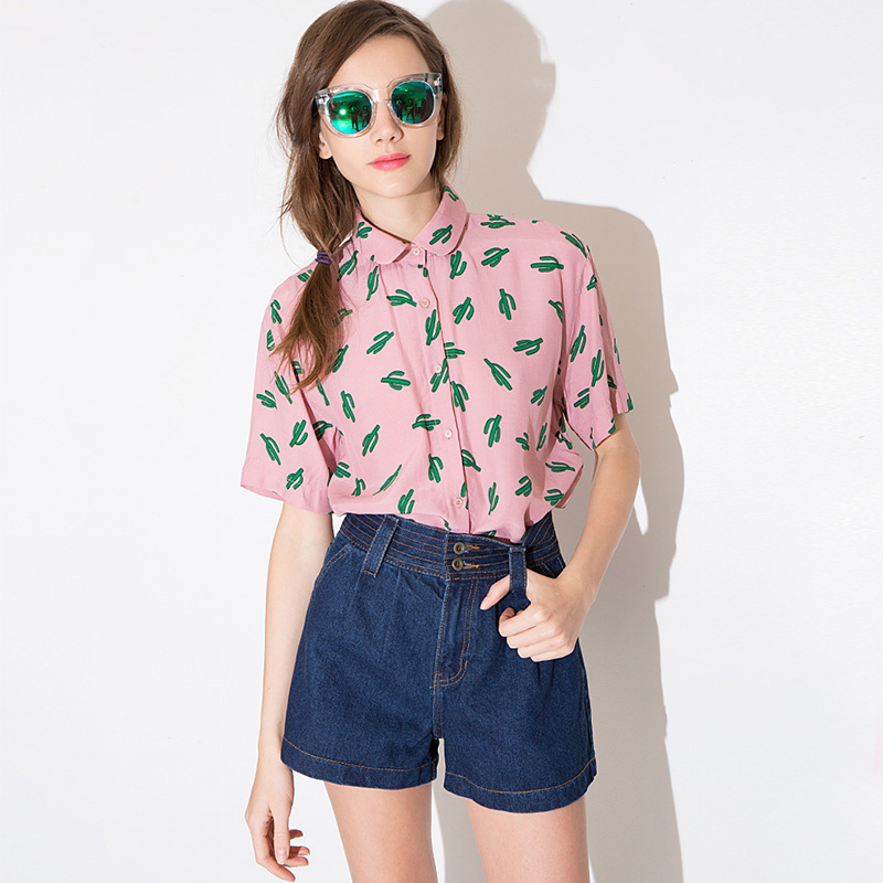 Buy Haoduoyi Print Women Blouse Summer Casual Female Shirt Tops