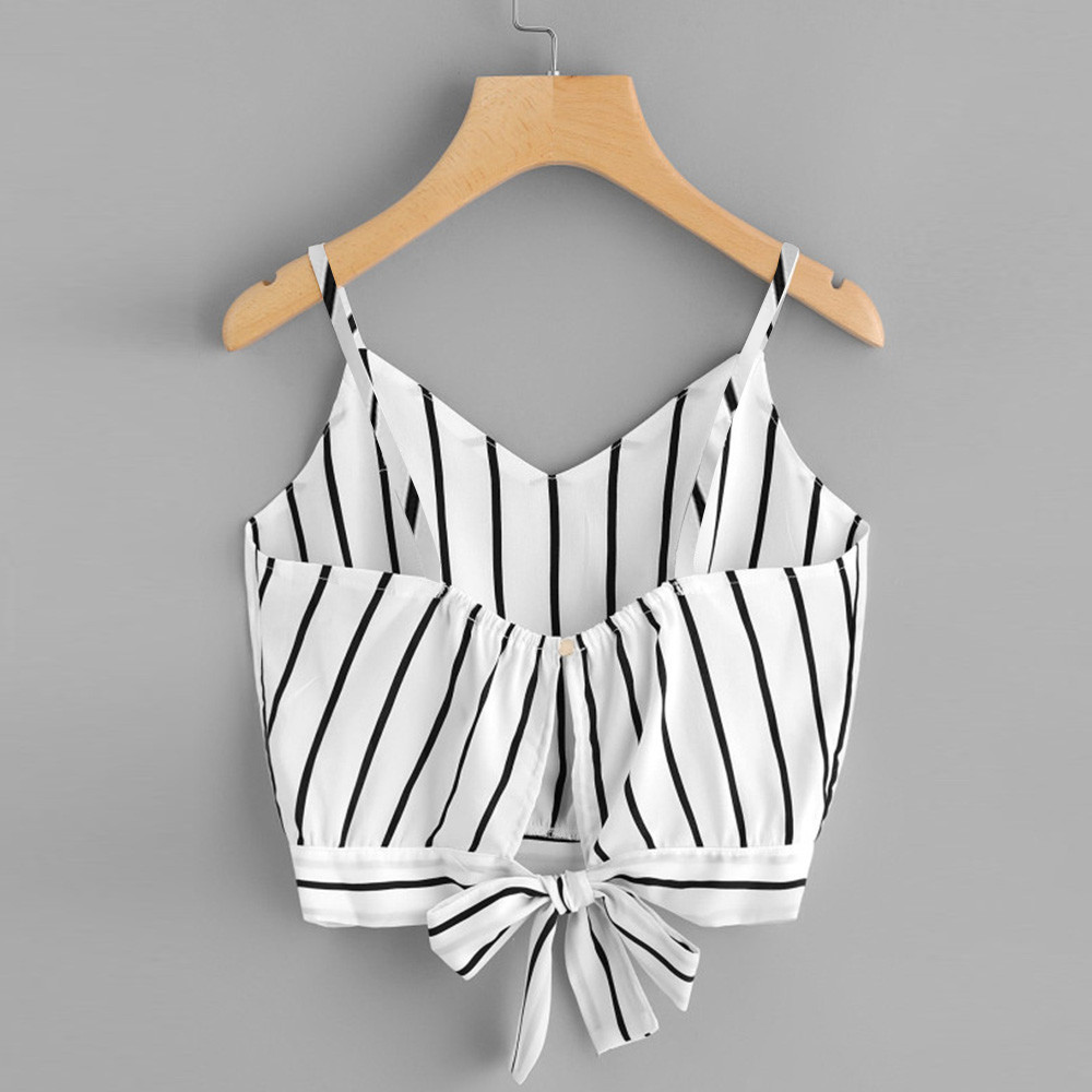 2019 New Arrvial Sexy Women Crop Tops Striped Tie Back Cami Casual Bow Vest Knot Cropped Tank Sexy Top cropped feminino