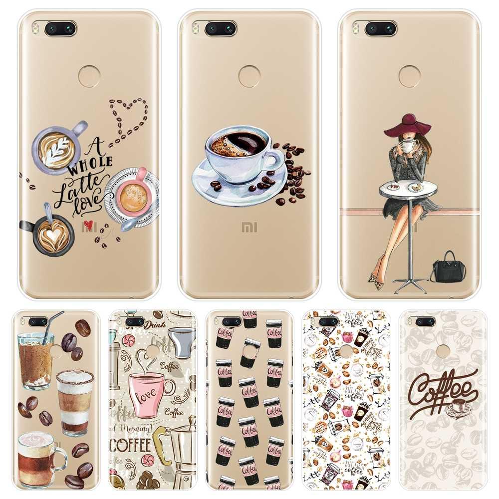 Telefoon Case Voor Xiaomi Mi A1 A2 Lite 8 Se 5 5C 5S 5X 6 6X Plus Zachte Siliconen koffie Meisje Back Cover Voor Xiaomi MiA1 MIA2 Mi8 Case