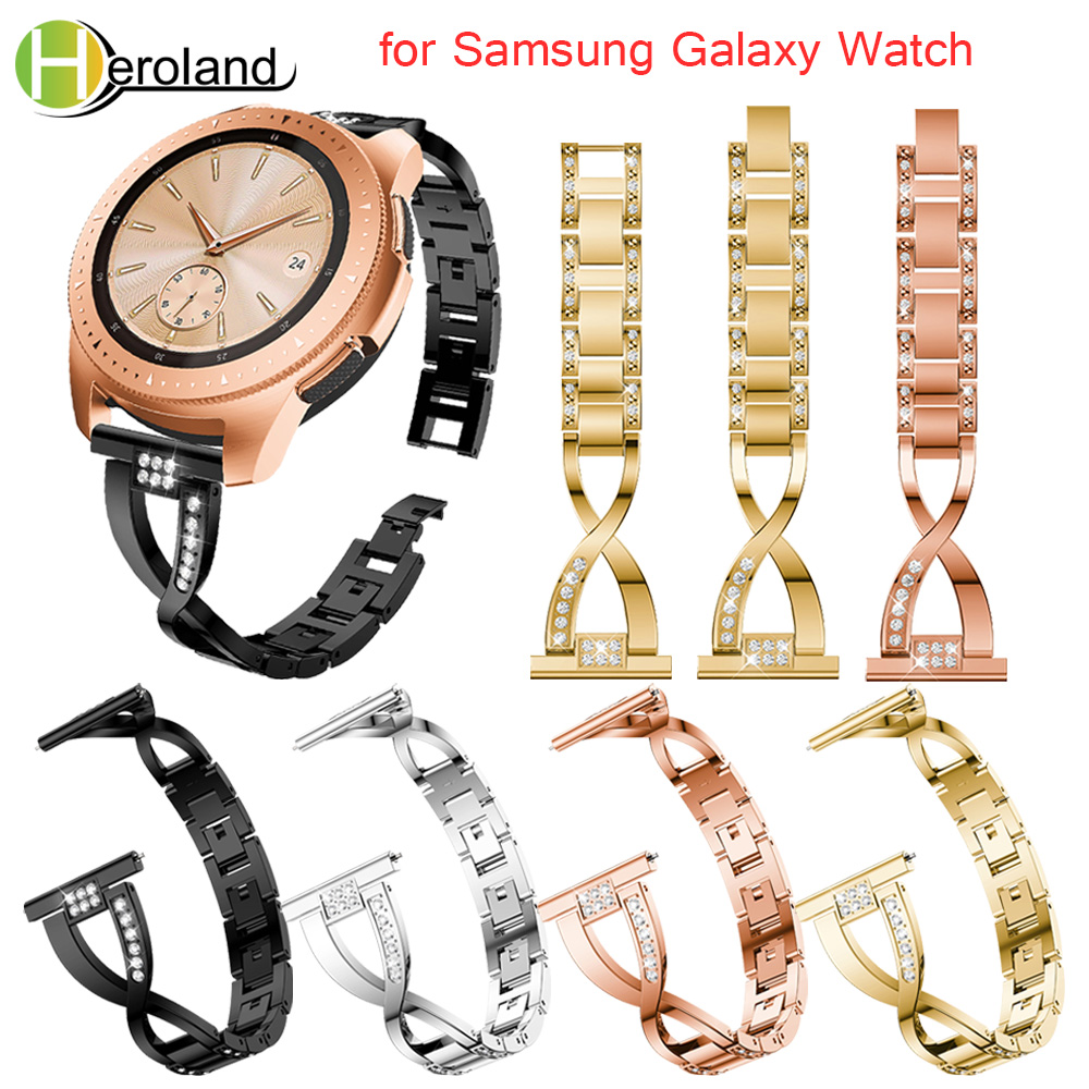 Replacement Watchband For Samsung Galaxy Watch 42mm 20MM Stainless Steel Smart Wristbands For Samsung Galaxy Watch Crystal New