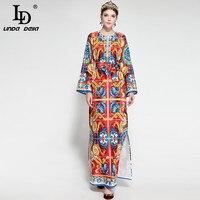LD LINDA DELLA Fashion Runway Maxi Dress Women S Long Sleeve Side Split Vintage Loose Floral
