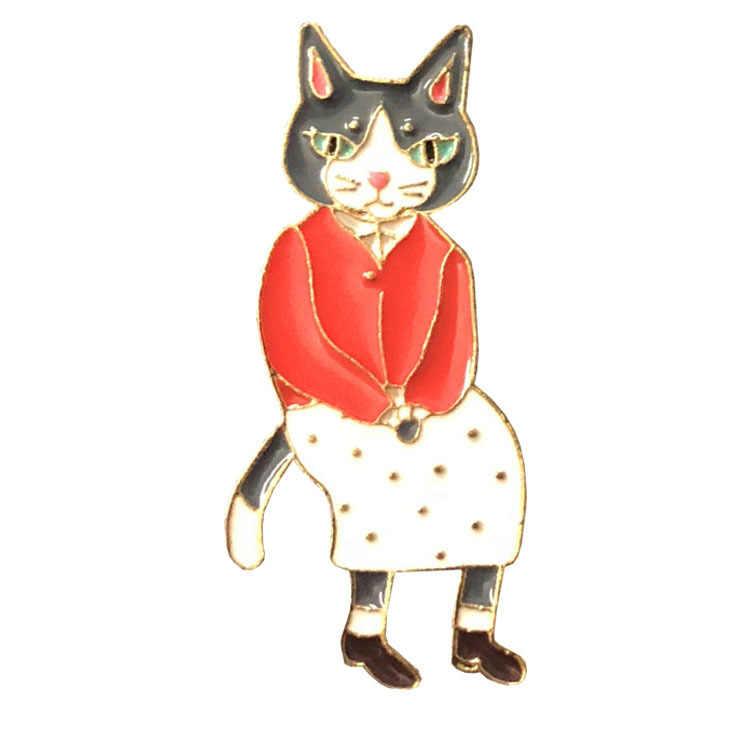 1 шт. шпилька с подвеской «Кот» значок в форме кролика брошь Лисичка эмалью с изображением животного броши-Значки для лацкана знак джинсовая куртка, рубашка с пряжкой аксессуары Подарки для пары