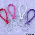 14 Colores de Moda Trenzado Mujeres Bolsa accesorios cadena Dominante Del Coche llavero auto Llavero de cuero titular de la clave de porte clef Envío Gratis