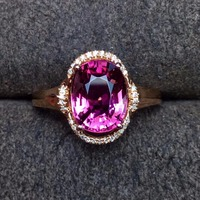 Red Tourmaline Ring 2.65ct Pure 18 K Gold Jewelry Natural Rubi Tourmaline Gemstones Diamonds Female Rings for Women Fine Ring