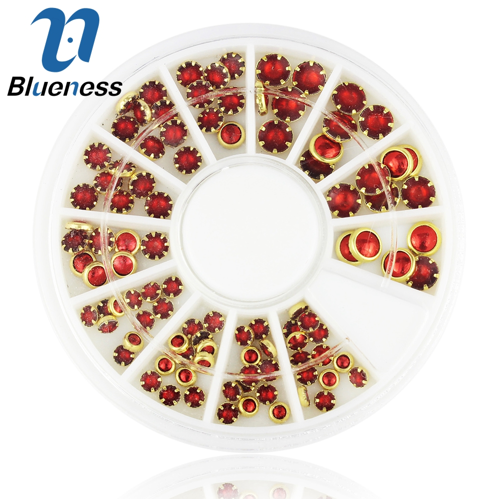 Blueness 3D Red  Glitter Acrylic Rhinestones Nail Art Decorations Round Gold Alloy Mixed Size Nails Manicure Decoration ZP197 gold and silver mixed styles acrylic 3d nail art decorations nail glitter rhinestone for uv gel nail polish