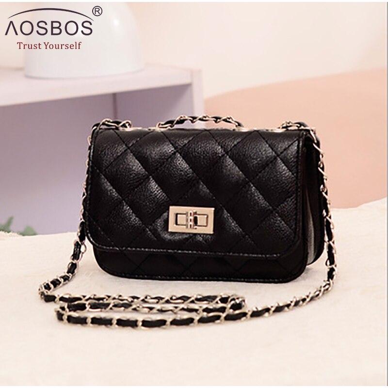 b1509edcb957 Aosbos 2019 брендовая новая кожаная сумка через плечо женская клетчатая  цепь сумка на плечо Повседневная вечерняя