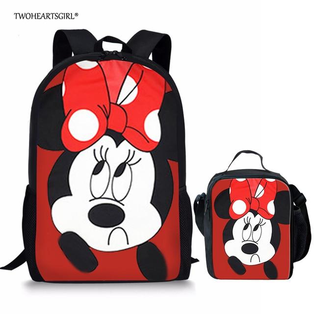 8158340ea9 Twoheartsgirl Cute Cartoon Mouse Print Schoolbag for Teenager Girls Pretty  Primary Kids School Bag Classic Children Bookbags