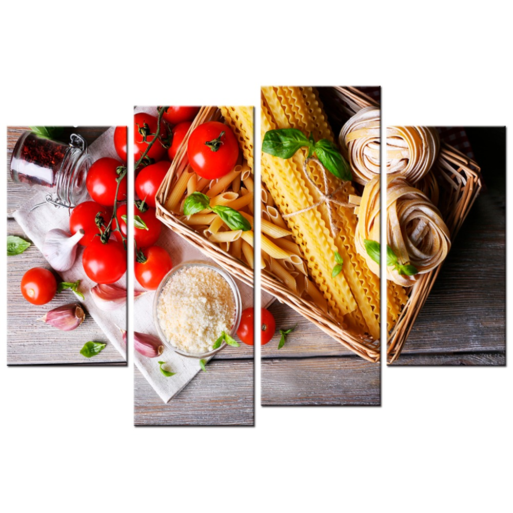 4 panel HD Paintings Canvas Food Tomato pasta Piece Art Restaurant painting Home Decor Print