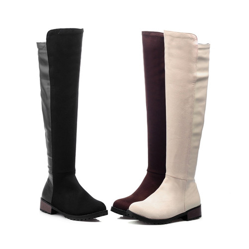 7519b835c28 Cool Ladies Autumn Round Toe Thick Med Heel Over Knee High Boots With  Zipper Plus Size 9 10 42 43 Women Sexy Fashion Boots 35A