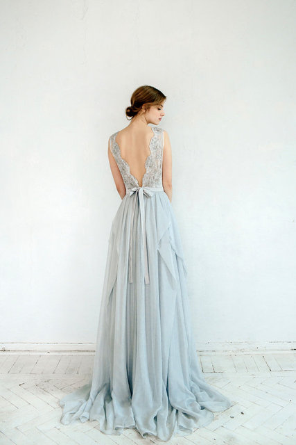 Boho light blue chiffon asymmetrical beach wedding dresses for Light blue beach wedding dress