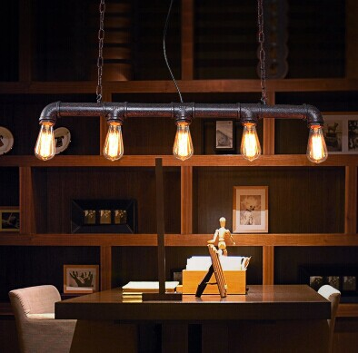 5 lumières, rétro Loft Style conduite d'eau Vintage industrielle suspension lampe, chaîne pendentif pour salle à manger café hall bar, ampoule incluse