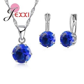 JEXXI Nova Moda Rodada De Cristal 925 Conjunto de Jóias de Prata Esterlina Colar de Pingente de 17 Cores para As Mulheres Grils Conjuntos de Brincos de Argola