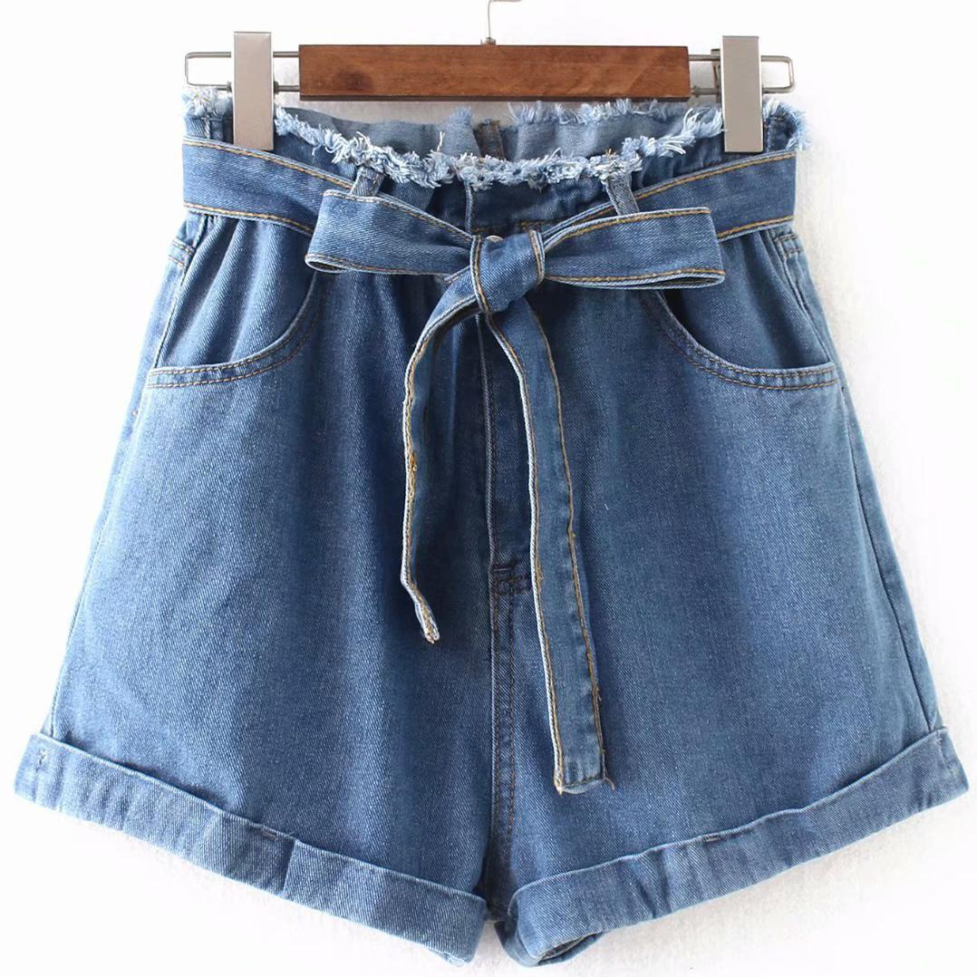 2019 Summer New Arrival European Style High Waisted Denim   Shorts   Slim & Comfortable Jeans Woman   Shorts   With Belt Free Shipping