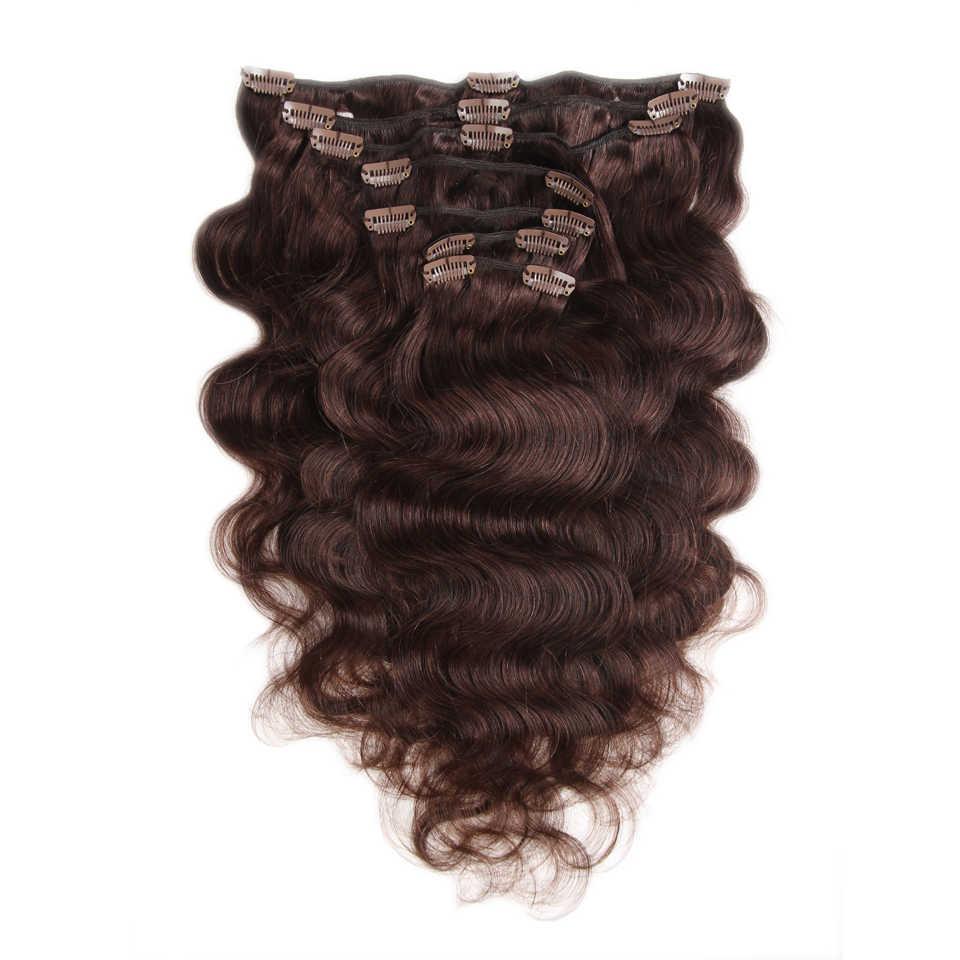 Mode Plus Clip in Menschliches Haar Extensions In Clip Maschine Made Remy Clip In Haar Extensions Vollen Kopf Körper Welle 7 Teile/satz 120g