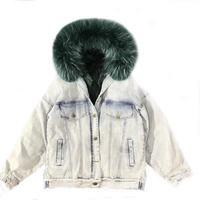 Denim Parka Oversized Hooded Coat Winter Women Fox Fur Coat Thick Warm Fur Parka Real Fur Jacket