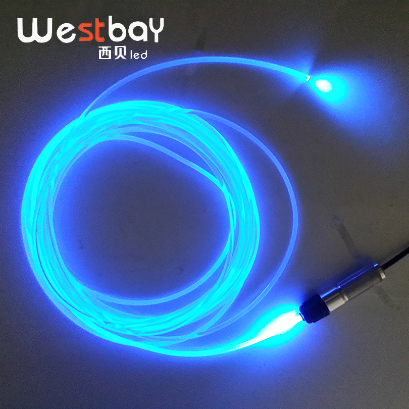 Westbay 3W LED Optic Fiber Light Engine Kit 3.0mm*2m Transparent Fiber DC12V Mini LED Optical Fiber Light For Car Decoration