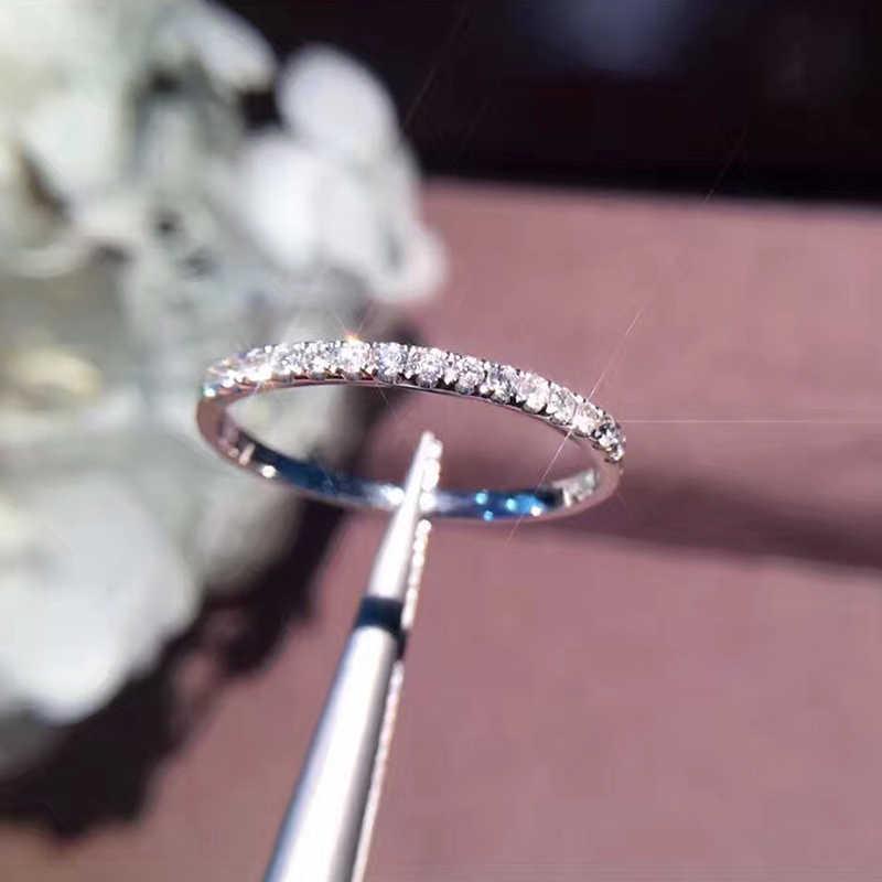 New sparkling Bán Hot Chính Hãng 925 bạc Diamant CZ Đá vòng Trang Sức Mỹ Đơn Giản Mỏng Tròn Vòng đối với Phụ Nữ Yếu Tố nhẫn
