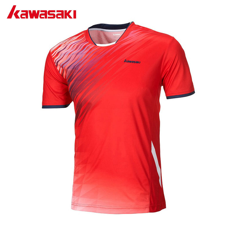 Kawasaki Brand Men Badminton Soccer T Shirts 100% Polyester Quick Dry Sportswear for Fitness Tennis Training Clothes ST-171018