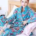 Autumn and winter flannel nightgown female thick coral velvet warm floral bath robe pajamas