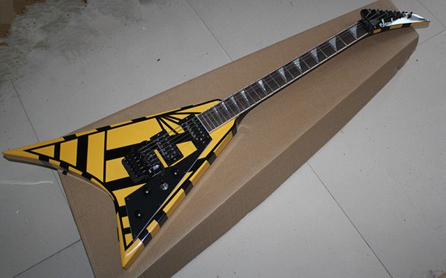US $368 0 |Custom Shop Seymour Duncan Pickups Jackson Flying V Yellow  Electric Guitar Best Musical instruments-in Guitar from Sports &  Entertainment