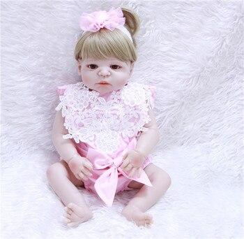 55cm Full Silicone Body Reborn Baby Girl real dolls toys Lifelike Princess newborn Babies Dolls Bathe Toy bebe alive bonecas