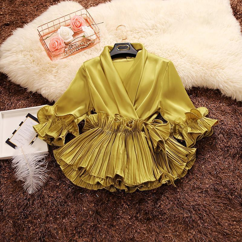 2019  Spring And Autumn New Female Deep V-neck Ruffles Lace Up Stain Shirt Women's Three Quarter Sleeve Shirts Women Blouses