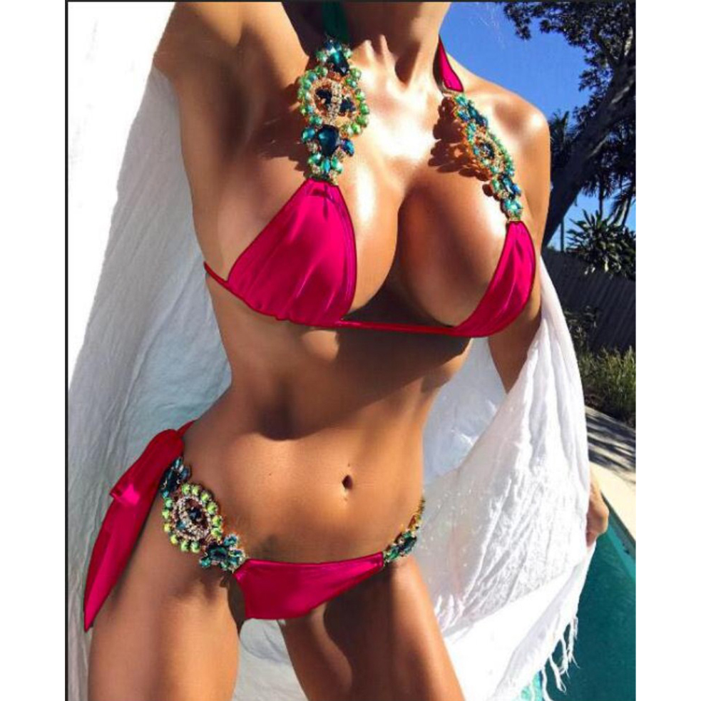 NIDALEE Beach Bandage Crystal Strap Sexy Bikini Pure Shiny Swimwear Brazilian Sexy Bathing Suit Beautiful Split Women Swimsuit