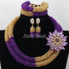 Handmade Latest Crystal Wedding Jewelry Sets Purple Crystal Nigerian Bead Necklace Earring Bracelet Set Free Shipping AIJ674