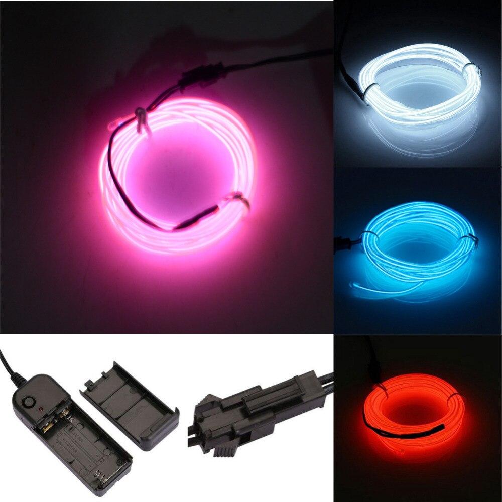 LED Neon Light EL Wire Lamp Glow String Lights DC3V 12V Ribbon 3M ...