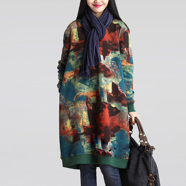 b9024db751d Autumn New Novelty Extra Long Loose Color Blocks Print Women Cotton Linen T  Shirt