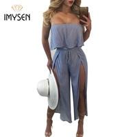 IMYSEN Plus Size Sexy Jumpsuit Blue Striped Rompers Womens Jumpsuit Slash Neck Ruffles Split Linen Jumpsuits