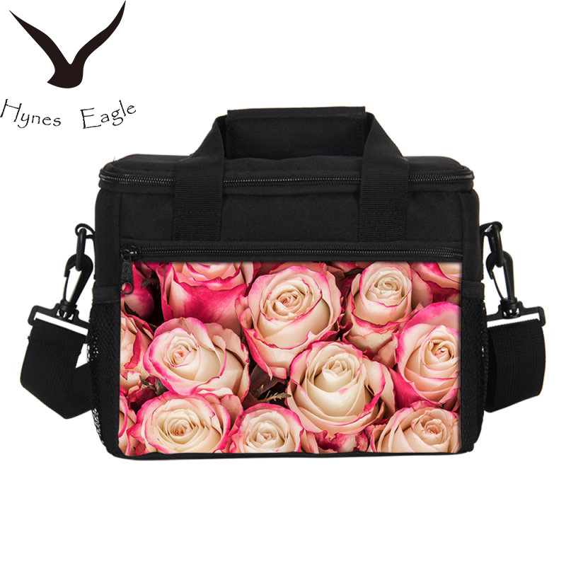 Hynes Eagle New Arrival Lunch Bag Messenger Bag Fashion Colorful Floral Prints Picnic Food Storage Container Thermal Cooler Box