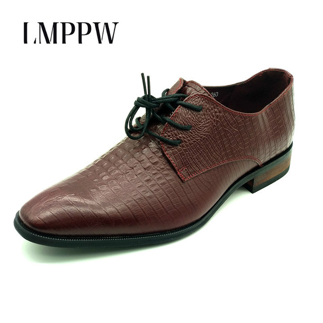 England Crocodile Pattern Leather Men s Formal Shoes Fashion Comfortable  Lace-up Oxford Shoes Black Red Wedding Leather Shoes 2A b6348f510f7