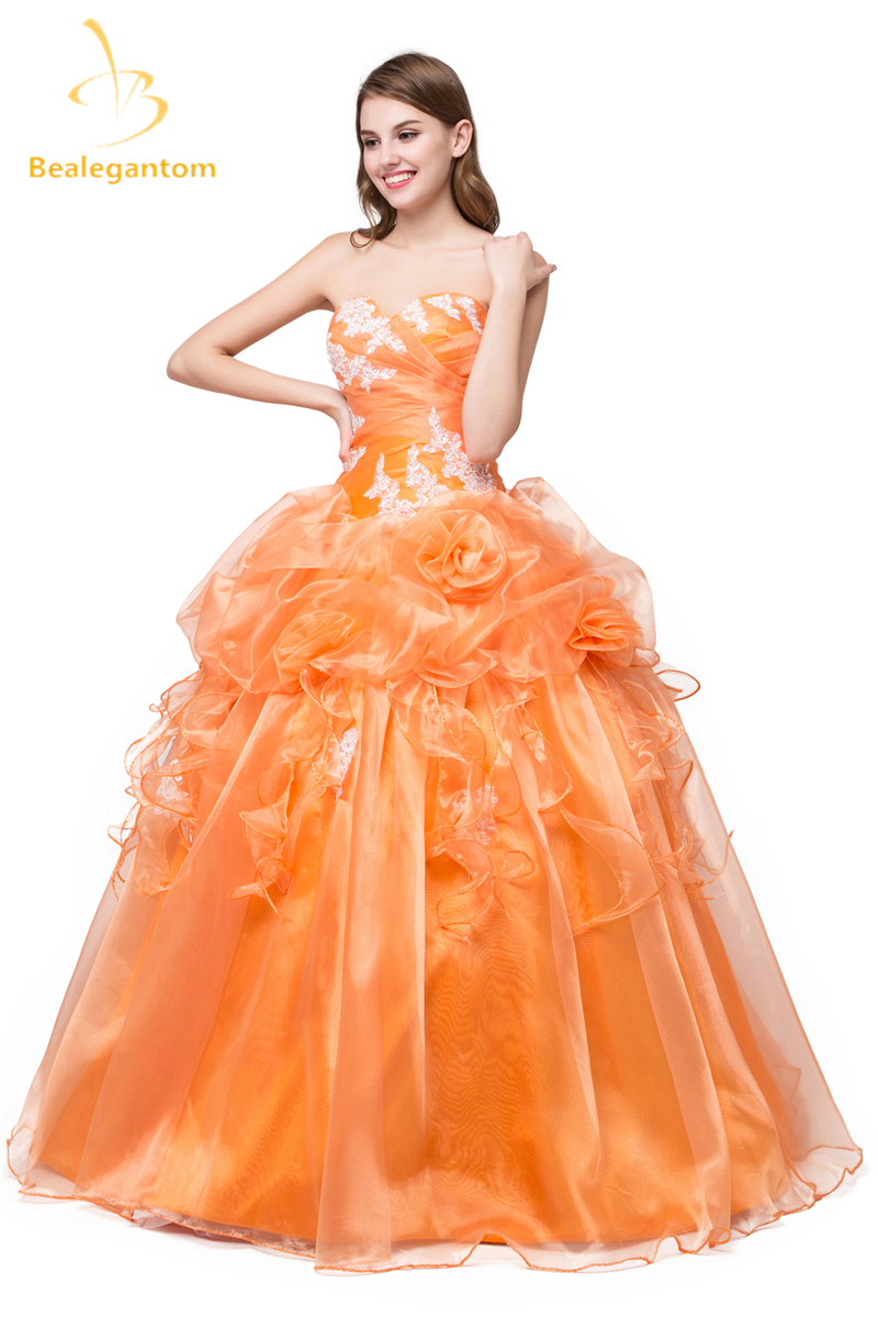 bba88955d3f 2018 New In Stock Cheap Sweetheart Organza Quinceanera Dresses Ball Gown  Appliques Beaded Floor Length Sweet 16 Dresses QA985-in Quinceanera Dresses  from ...