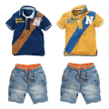 Grandwish Cotton Polo + Jeans Shorts Summer Suits for Toddler Boy Kid Denim Shorts Casual Clothing Set for Children 18M-6T,SC898