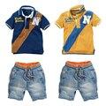 Grandwish algodón polo + jeans shorts trajes de verano para niño niño niño denim shorts casual set ropa para niños 18 m-6 t, sc898